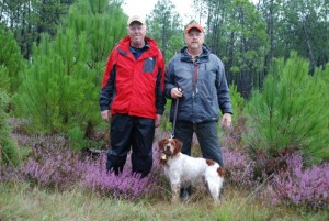 Bruce Mooney, John Mooney and Etoc de L'Escarbot in Escource, France, Fall Field Trial, October 19, 2012 after Etoc took a First Place Excellent